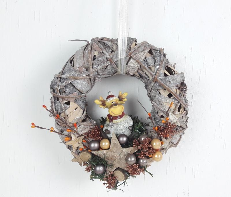 - Weihnachtskranz, Türkranz Weihnachten, mit süßem Elch, Weihnachtsdeko - Weihnachtskranz, Türkranz Weihnachten, mit süßem Elch, Weihnachtsdeko