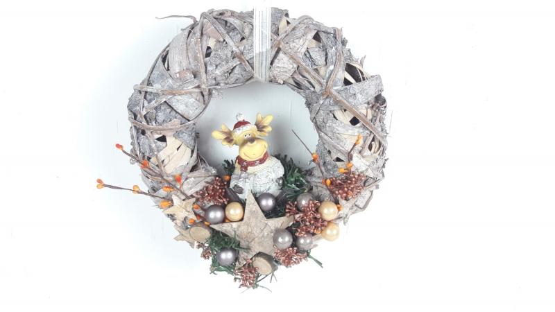 Kleinesbild - Weihnachtskranz, Türkranz Weihnachten, mit süßem Elch, Weihnachtsdeko