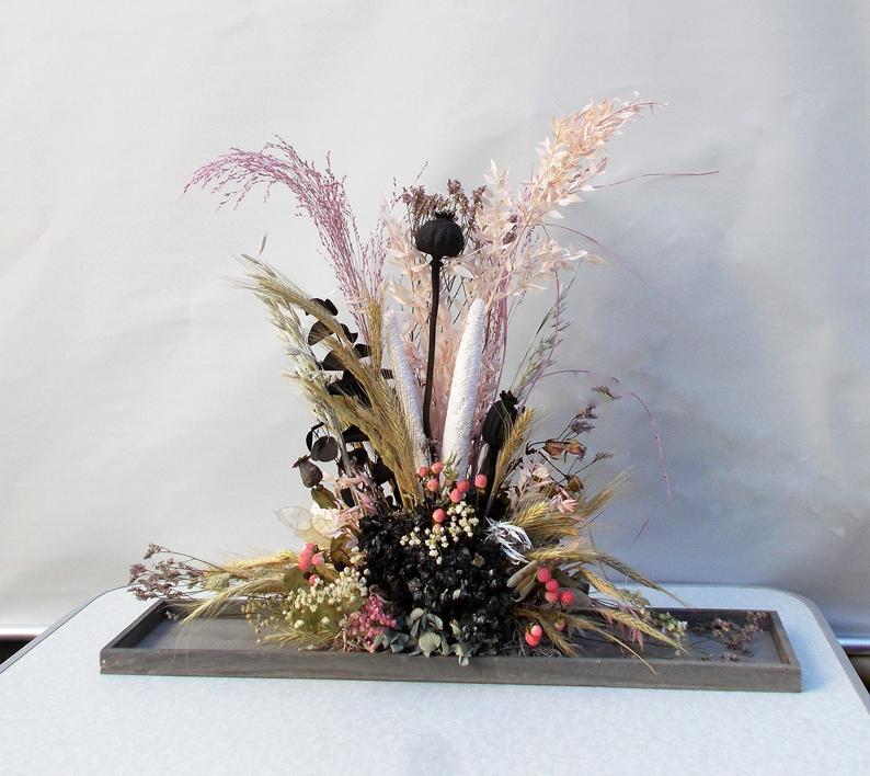- Trockenblumengesteck, modern, Trockenblumen, getrocknete Natur Pflanzen, schwarz rosa - Trockenblumengesteck, modern, Trockenblumen, getrocknete Natur Pflanzen, schwarz rosa