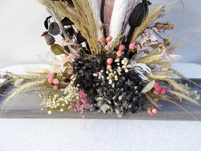 Kleinesbild - Trockenblumengesteck, modern, Trockenblumen, getrocknete Natur Pflanzen, schwarz rosa