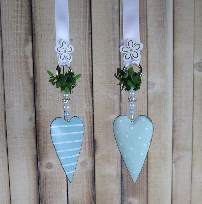 Kleinesbild - Fensterdeko 2er Set blaue Herzen, Stückpreis 12,95 Euro, Landhaus Deko
