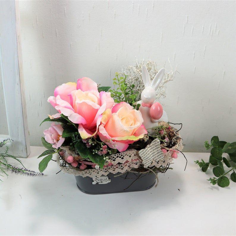 - Ostergesteck mit Rosen und Hase, rosa, Osterdeko, Ostern - Ostergesteck mit Rosen und Hase, rosa, Osterdeko, Ostern