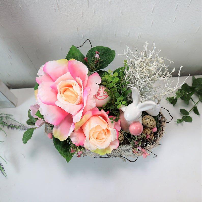 Kleinesbild - Ostergesteck mit Rosen und Hase, rosa, Osterdeko, Ostern