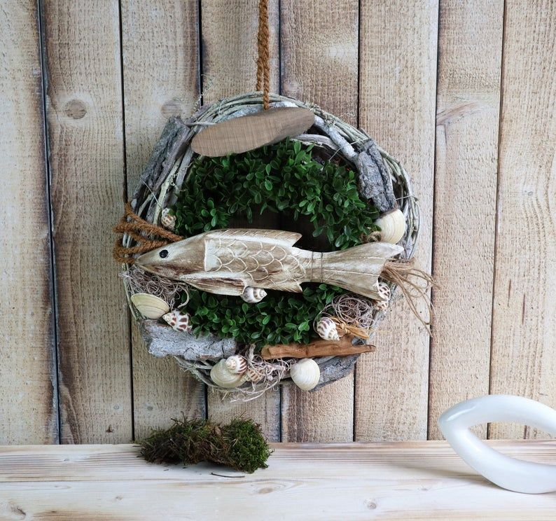 - Türkranz maritim, Türkranz mit Fisch aus Holz, Kranz, Sommerdeko - Türkranz maritim, Türkranz mit Fisch aus Holz, Kranz, Sommerdeko
