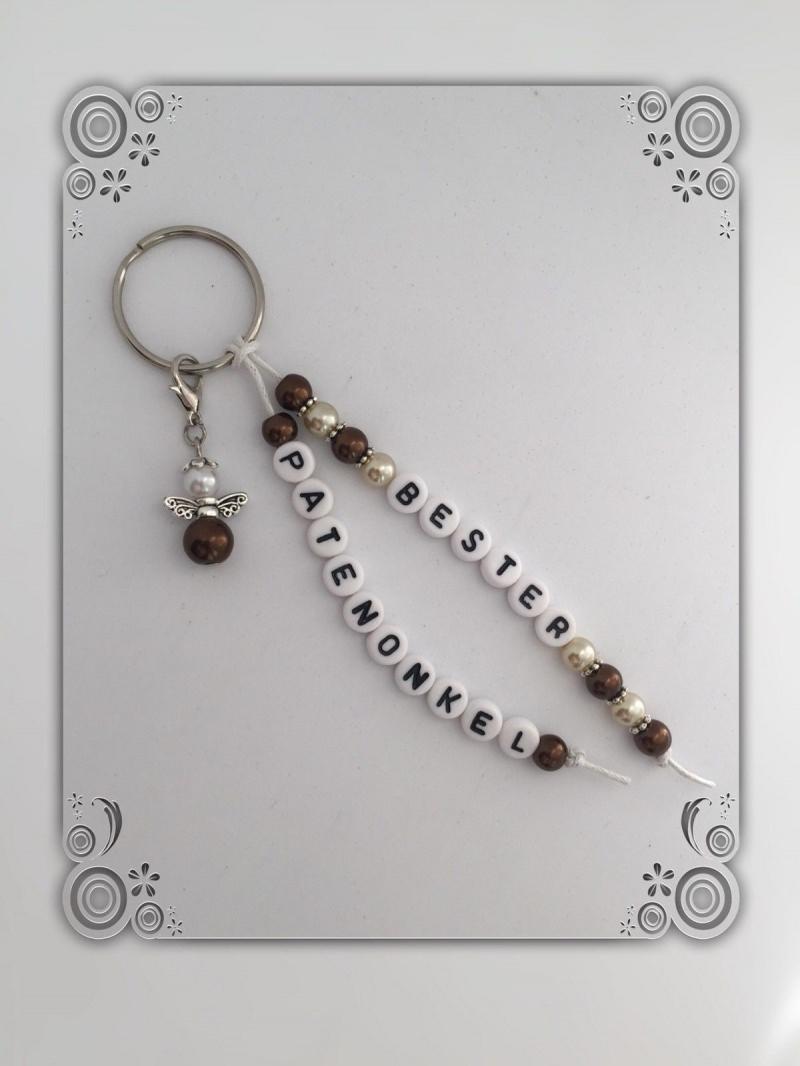Kleinesbild - Bester Patenonkel Schlüsselanhänger mit Schutzengel, Geschenk, Taufe