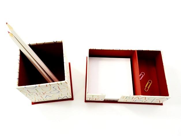 Kleinesbild - Zettelkasten und Stiftköcher Set Buchstaben Buchbindehandwerk von Pappelapier