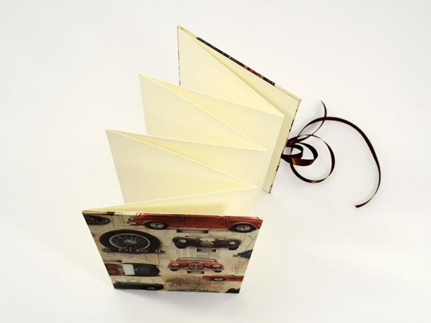 Kleinesbild - Leporello Fotoalbum Faltbuch Oldtimer Buchbindehandwerk von Pappelapier