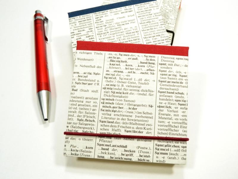 Kleinesbild - Klebezettel Mäppchen Haftnotiz Mäppchen aus altem Wörterbuch Upcycling