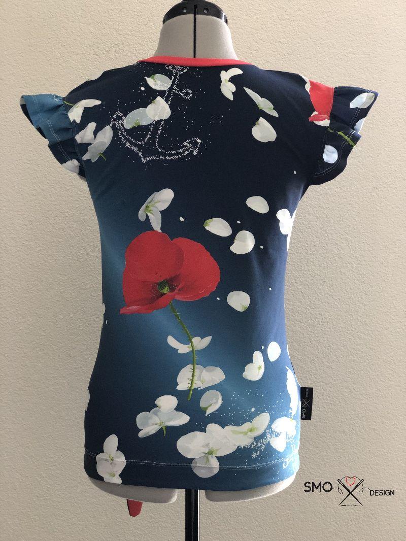 """Kleinesbild - Damen Shirt """"Anker/Blumen"""" mit Knoten und Flügelärmel Gr. 32 - 44"""