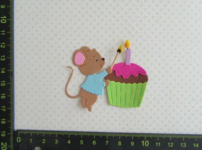 - Kartenschmuck Stanzteile Scrapbooking Happy Birthday Maus - Cupcake - Kartenschmuck Stanzteile Scrapbooking Happy Birthday Maus - Cupcake
