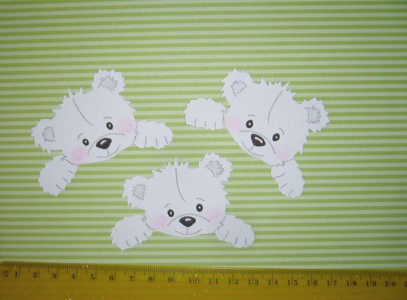 - Scrapbooking  Stanzteil  Kartendeko  Kartenschmuck  3 Bärenrohlinge weiß - Scrapbooking  Stanzteil  Kartendeko  Kartenschmuck  3 Bärenrohlinge weiß