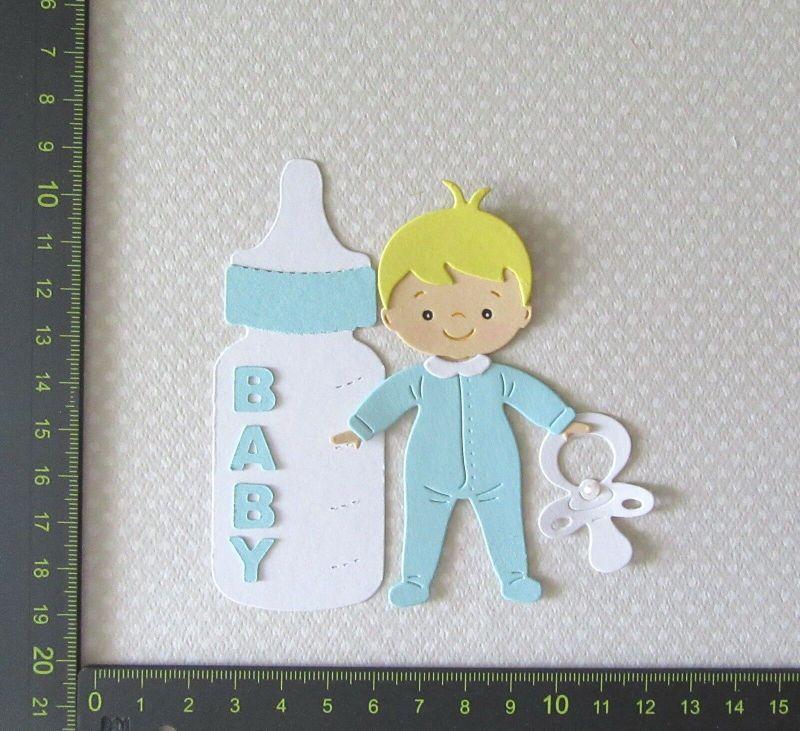-   Stanzteil  Kartendeko  Kartenschmuck Scrapbooking Geburt Baby Boy mit Flasche  -   Stanzteil  Kartendeko  Kartenschmuck Scrapbooking Geburt Baby Boy mit Flasche