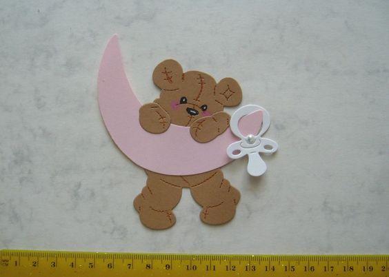 -   Stanzteil  Kartendeko  Kartenschmuck Scrapbooking Geburt Teddy Baby mit Mond  -   Stanzteil  Kartendeko  Kartenschmuck Scrapbooking Geburt Teddy Baby mit Mond