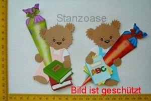 -   Stanzteil  Kartendeko  Kartenschmuck Scrapbooking 2 Bären mit Zuckertüte -   Stanzteil  Kartendeko  Kartenschmuck Scrapbooking 2 Bären mit Zuckertüte