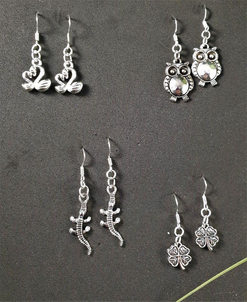 - Ohrringe, verschiedene Anhängerformen, silber - Ohrringe, verschiedene Anhängerformen, silber