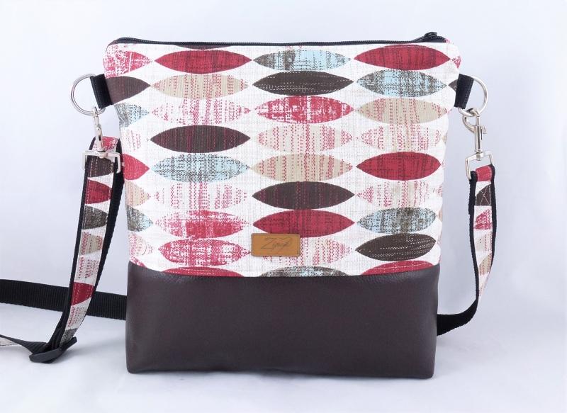 - Umhängetasche rot / beige / braun, grafisches Muster - Umhängetasche rot / beige / braun, grafisches Muster