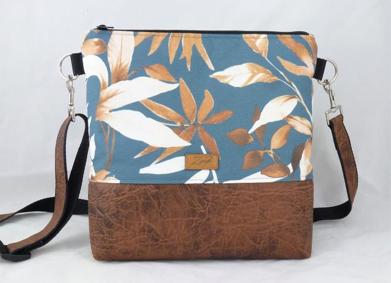 Kleinesbild - Umhängetasche  mit Blättern, braun, orange