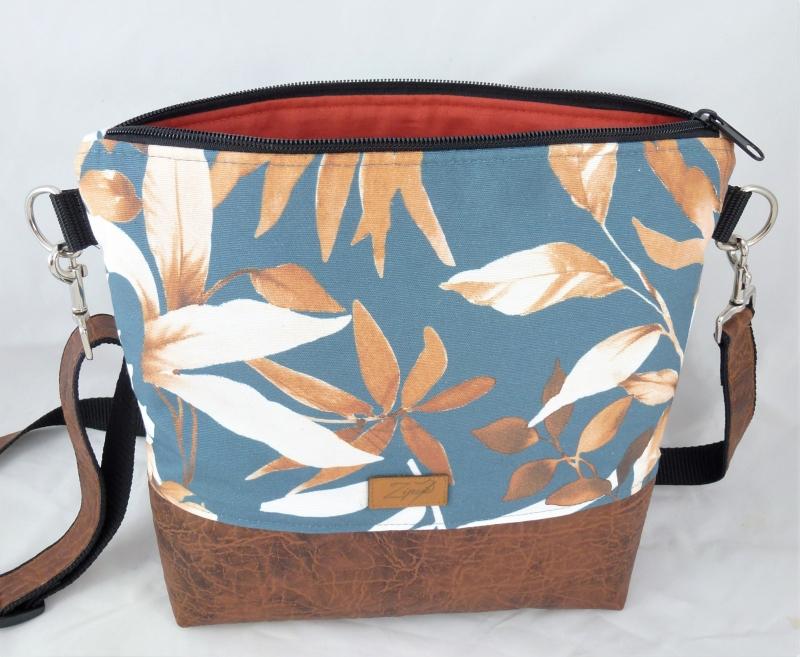- Umhängetasche  mit Blättern, braun, orange - Umhängetasche  mit Blättern, braun, orange