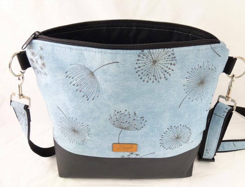 Kleinesbild - Umhängetasche  blau mit Pusteblumen, Schultertasche