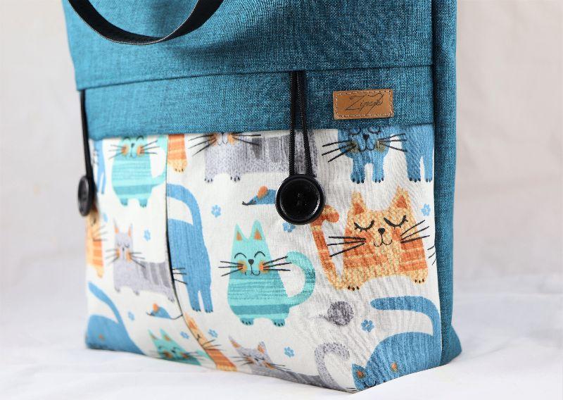 Kleinesbild - Shopper Oslo in petrol mit Katzen, Schultertasche