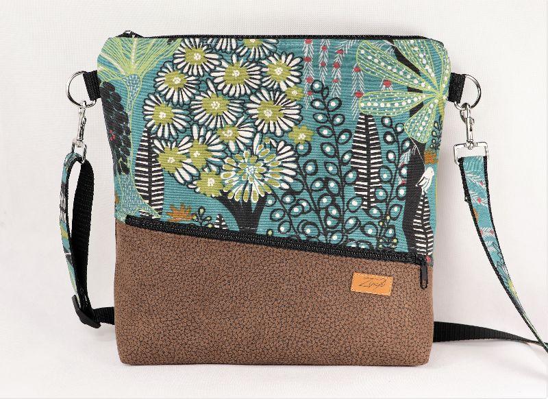 - Umhängetasche,  Schultertasche, Reißverschlusstasche, floral - Umhängetasche,  Schultertasche, Reißverschlusstasche, floral