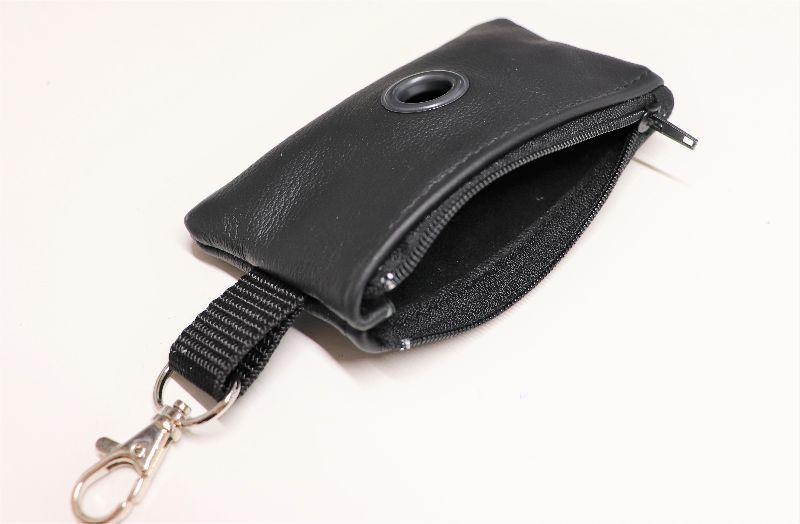 Kleinesbild - Kotbeutelspender, genäht aus Leder, schwarz