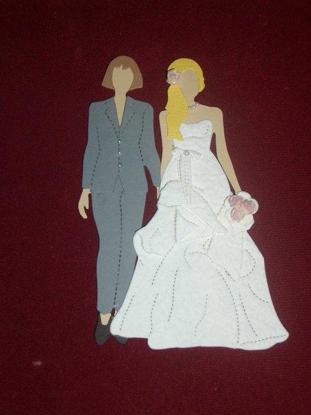 Kleinesbild - Stanzteile Lesbenbrautpaar Hochzeit Brautpaar Hochzeitspaar Kartenschmuck Kartendeko Karten basteln Scrapbooking