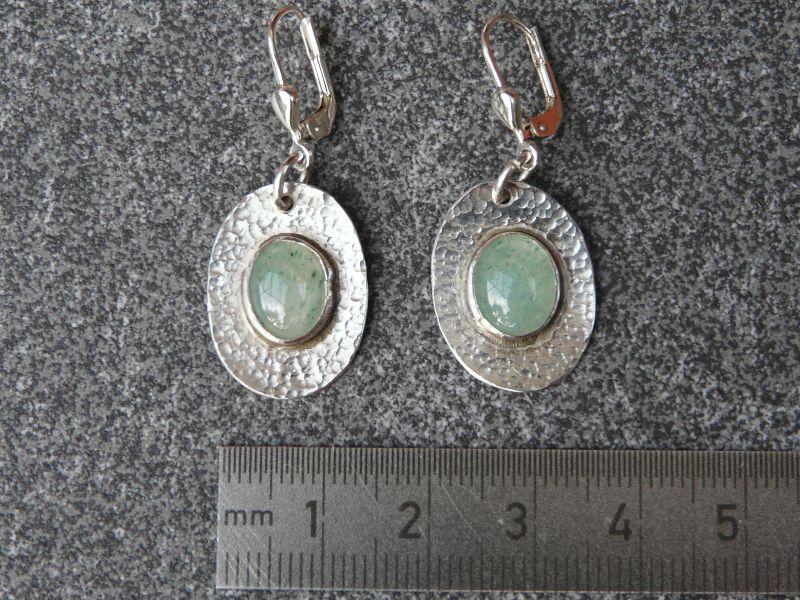 Kleinesbild - Ohrhänger aus 925 Silber in ovaler Form mit 10x8 mm Aventurin Steinen