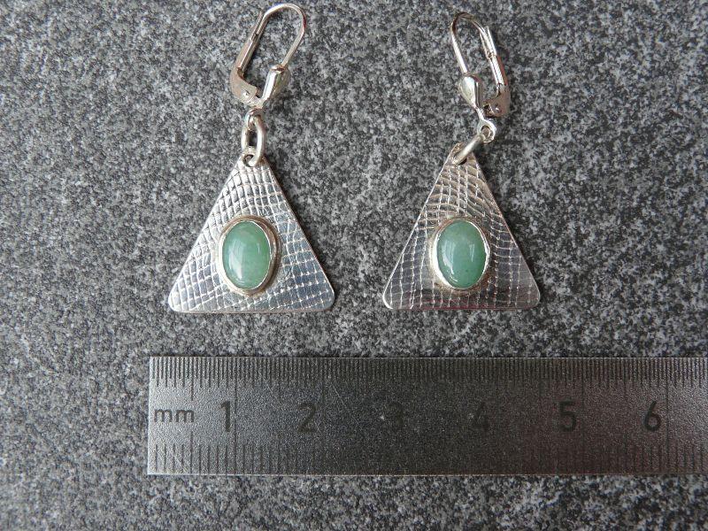 Kleinesbild - Ohrhänger aus 925 Silber in ovaler Form mit 8x6 mm Aventurin Steinen