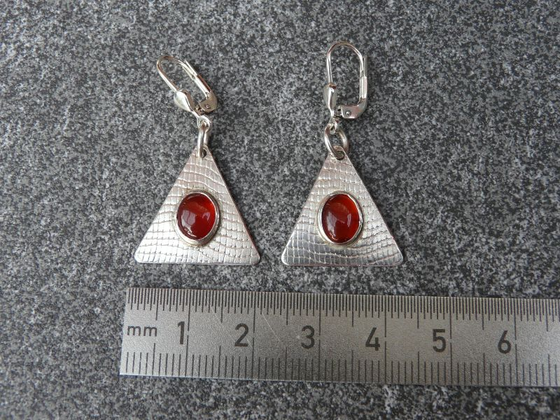 Kleinesbild - Ohrhänger aus 925 Silber in ovaler Form mit 8x6 mm Karneol Steinen  (Kopie id: 100272326)