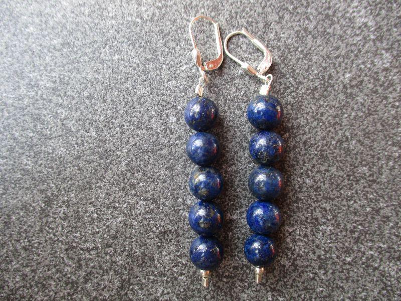 -  Ohrhänger aus 925 Silber mit 8mm Lapislazuli Perlen -  Ohrhänger aus 925 Silber mit 8mm Lapislazuli Perlen