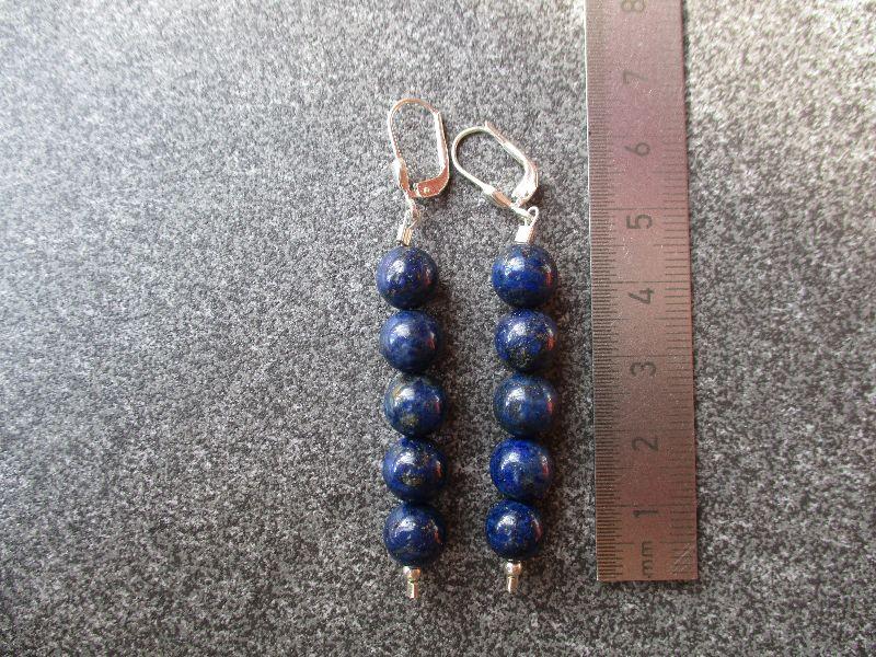 Kleinesbild -  Ohrhänger aus 925 Silber mit 8mm Lapislazuli Perlen