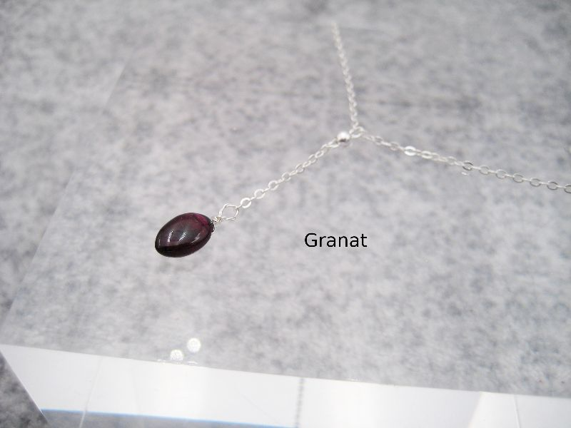 Kleinesbild - Y-Kette mit Granat, Granat-Kette, 925 Silber, Gold Filled, Rosegold Filled, minimalistisch, Edelstein Granat