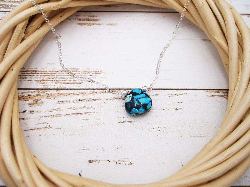 Kleinesbild - Obsidian-Kette, Obsidian blau schwarz, 925 Silber, Gold Filled, Rosegold Filled, minimalistisch, Edelstein