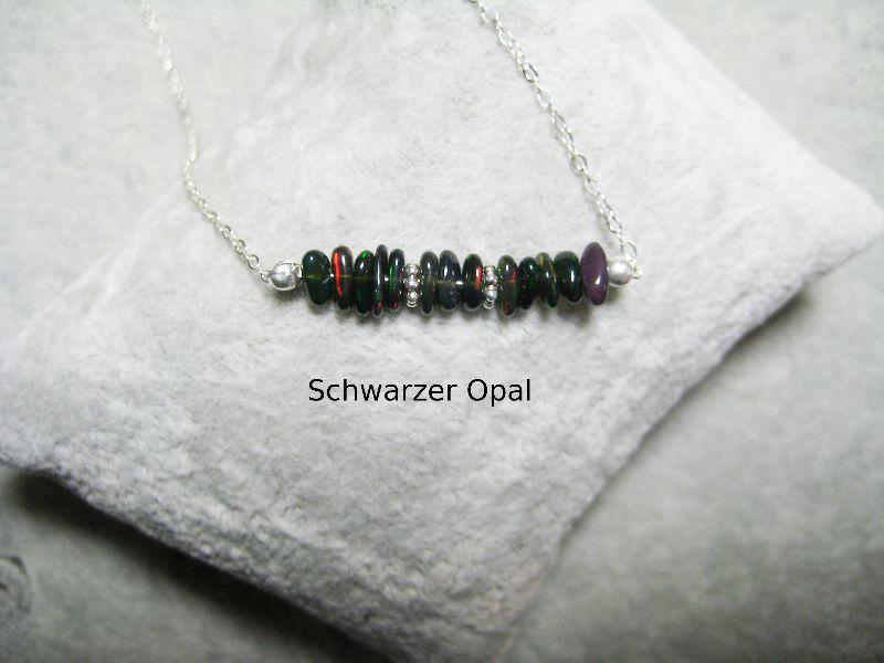 - Opalkette, Opal Chips, Opal Splitter, Opal blau-schwarz, echter Opal, Welo Opal, 925 Silber, minimalistisch, Edelstein - Opalkette, Opal Chips, Opal Splitter, Opal blau-schwarz, echter Opal, Welo Opal, 925 Silber, minimalistisch, Edelstein