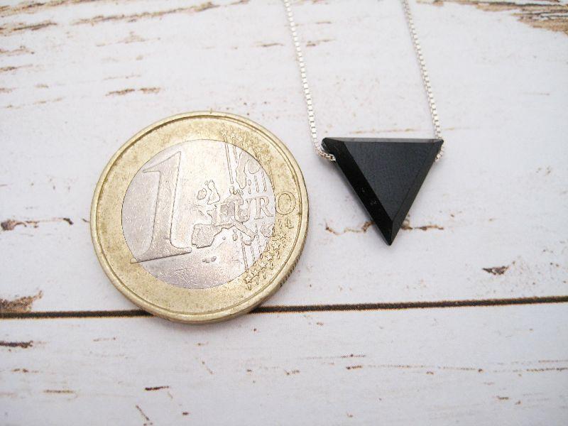 Kleinesbild - Spinell-Kette, Spinell Dreieck, natürlich, 925 Silber, Goldfilled, Boxkette, zierlich, minimalistisch, Edelstein