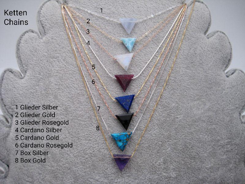 Kleinesbild - Kyanit-Kette, Moos Kyanit, Dreieck, natürlich, 925 Silber, Goldfilled, Rosegoldfilled, Boxkette, zierlich, minimalistisch, Edelstein