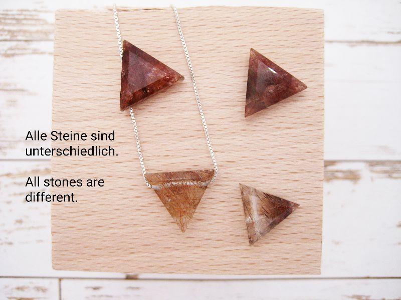 Kleinesbild - Quarz-Kette, Kupfer-Rutil-Quarz, Dreieck, natürlich, 925 Silber, Goldfilled, Boxkette, zierlich, minimalistisch, Edelstein