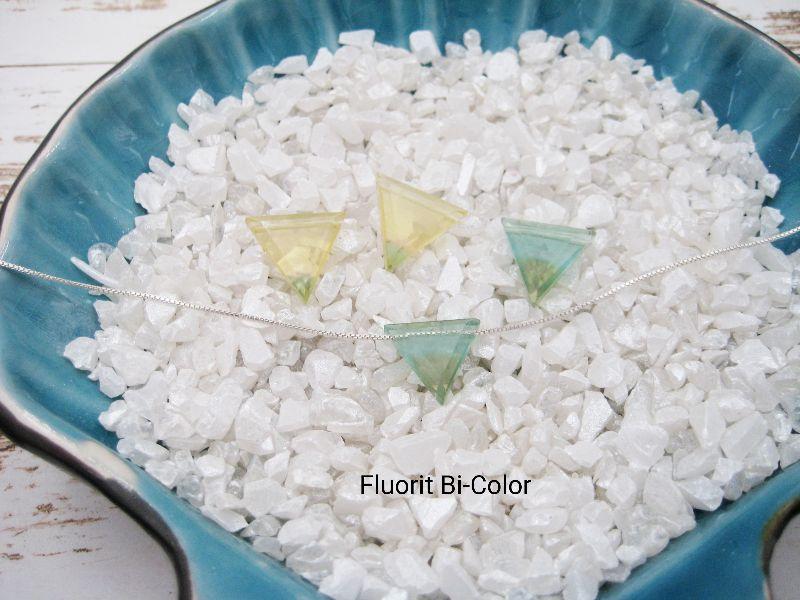 - Fluorit-Kette, Bi-Color, Dreieck, natürlich, 925 Silber, Goldfilled, Rosegoldfilled, Boxkette, zierlich, minimalistisch, Edelstein - Fluorit-Kette, Bi-Color, Dreieck, natürlich, 925 Silber, Goldfilled, Rosegoldfilled, Boxkette, zierlich, minimalistisch, Edelstein