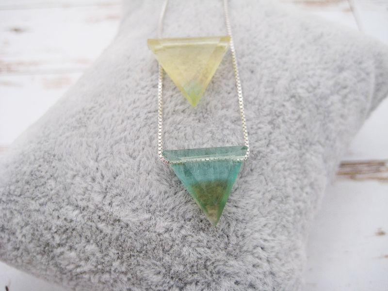 Kleinesbild - Fluorit-Kette, Bi-Color, Dreieck, natürlich, 925 Silber, Goldfilled, Rosegoldfilled, Boxkette, zierlich, minimalistisch, Edelstein