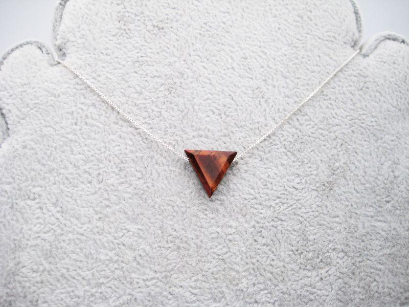 Kleinesbild - Tigerauge-Kette, Roter Tigerauge, Dreieck, natürlich, 925 Silber, Goldfilled, Boxkette, zierlich, minimalistisch, Edelstein