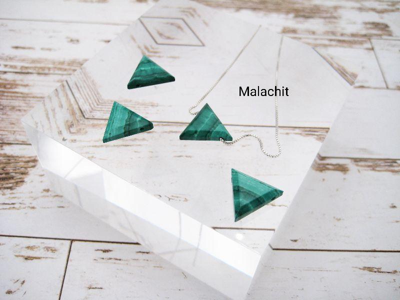- Malachit-Kette, natürlicher Malachit, Dreieck, natürlich, 925 Silber, Goldfilled, Boxkette, zierlich, minimalistisch, Edelstein - Malachit-Kette, natürlicher Malachit, Dreieck, natürlich, 925 Silber, Goldfilled, Boxkette, zierlich, minimalistisch, Edelstein