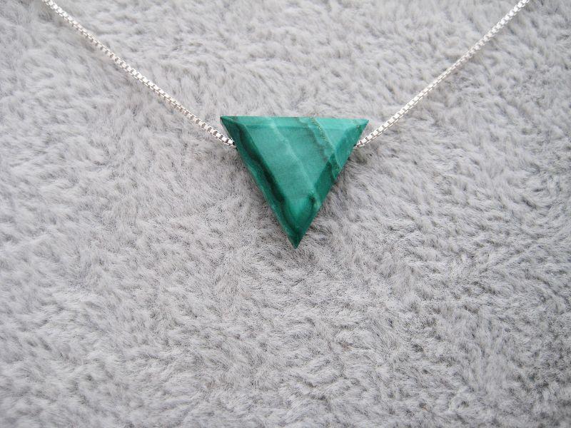 Kleinesbild - Malachit-Kette, natürlicher Malachit, Dreieck, natürlich, 925 Silber, Goldfilled, Boxkette, zierlich, minimalistisch, Edelstein