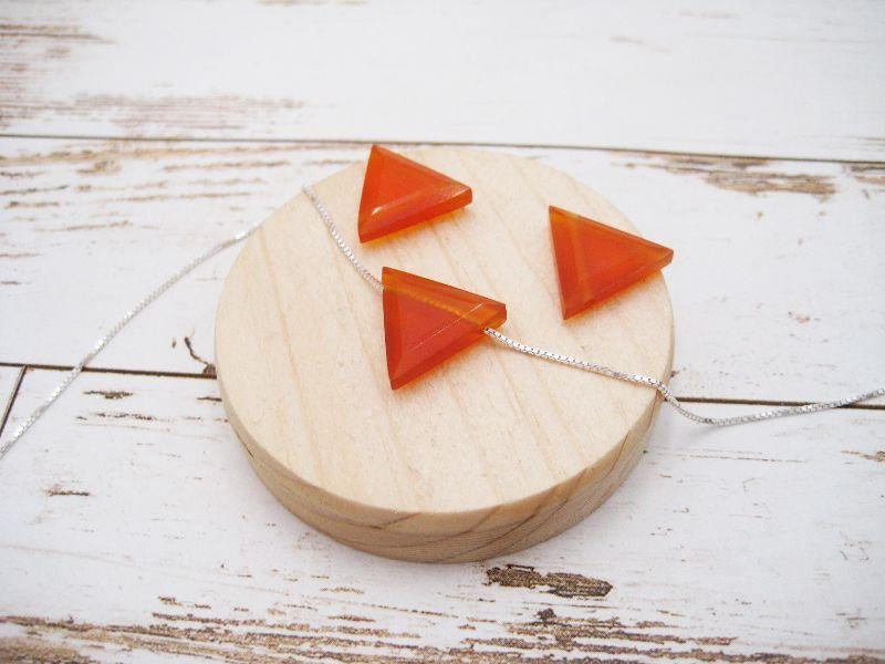 Kleinesbild - Karneol-Kette, Anhänger rot, Carnelian, Dreieck, 925 Silber, Boxkette, zierlich, minimalistisch, Edelstein