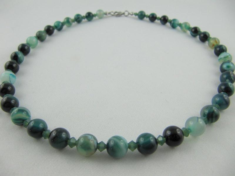Kleinesbild - Kette Perlen Achat Grün (E22)