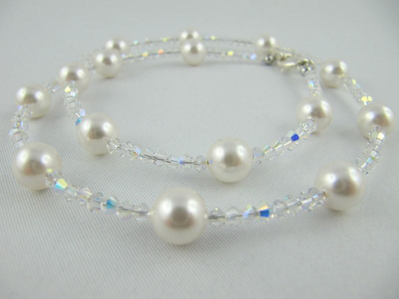 - Kette Weiß Perlen Braut Hochzeit (368) - Kette Weiß Perlen Braut Hochzeit (368)