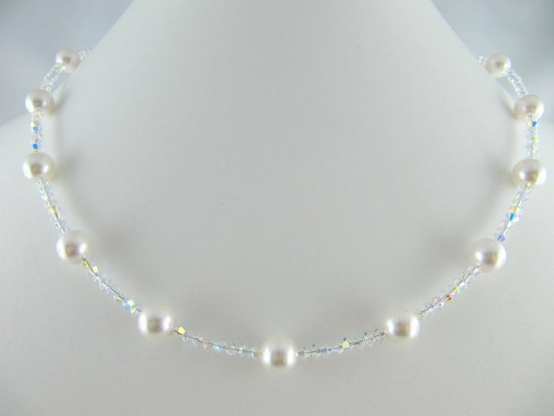 Kleinesbild - Kette Weiß Perlen Braut Hochzeit (368)