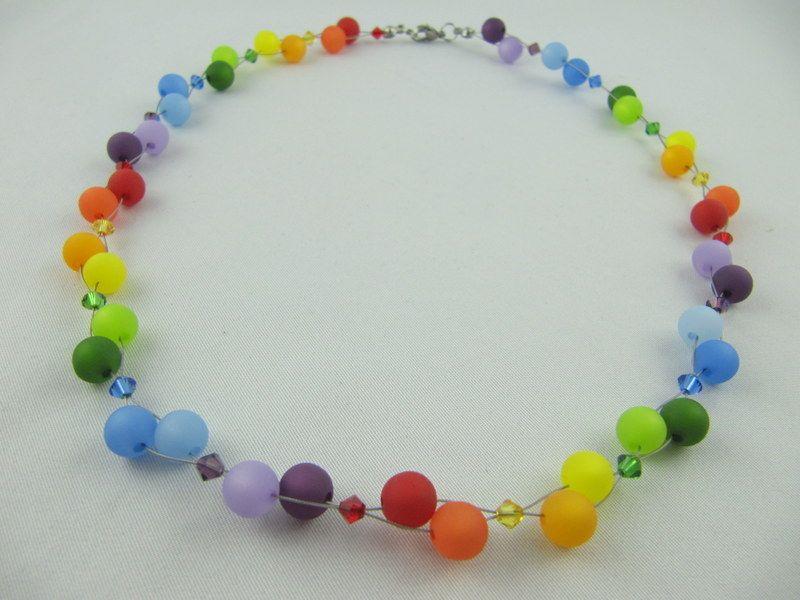 Kleinesbild - Kette Collier Polariskette Regenbogen Polaris Perlen (512)