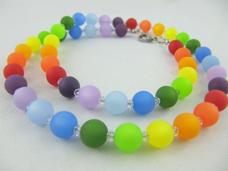- Kette Regenbogen Bunt Polaris Perlen Polariskette (566) - Kette Regenbogen Bunt Polaris Perlen Polariskette (566)