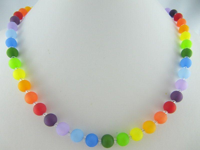 Kleinesbild - Kette Regenbogen Bunt Polaris Perlen Polariskette (566)
